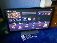 SAMSUNG 59 INCH 3D SMART PLASMA INTERNET TV WITH FREEVIEW AND FREESAT BUILT IN.