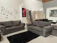 Grey chesterfield style 3+3 sofa set
