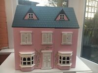 Pink and White Wooden Dolls House