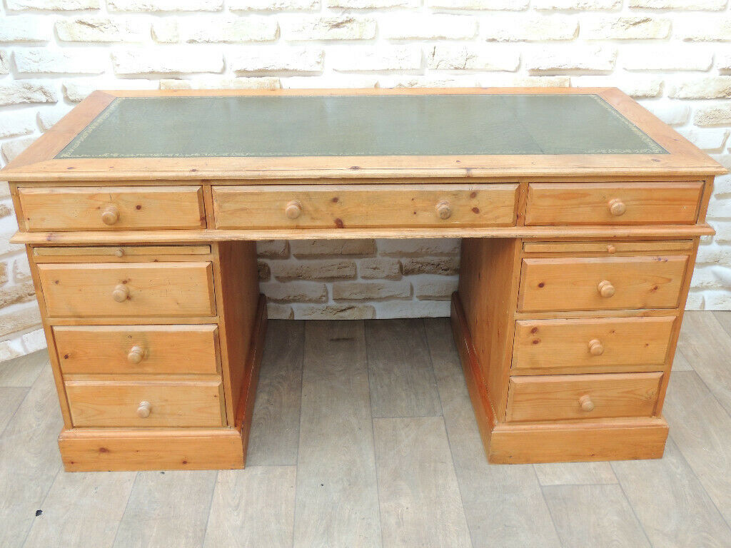 Chunky Solid Pine 3 Part Desk With