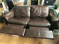 Brown leather 2 seater sofa recliner