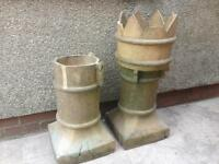 Vintage Chimney king Crown pots x2
