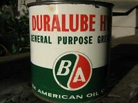 BA Duralube 5 pound grease can vintage