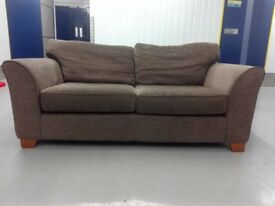 CLEARANCE NEXT 2 seater brown fabric sofa settee in very good condition / free delivery