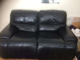 Black Leather 2 seater recliner