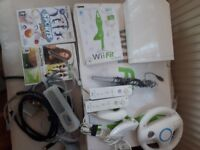 NINTENDO Wii BUNDLE. Wii CONSOLE. Wii FIT BOARD. GAMES. CONTROLLERS, WIRES. ETC.