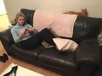 3 Seater & 2 Seater brown leather sofas