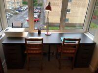 Lovely Black/Brown 2 seater desk