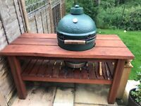 Large 1 yr old Big Green Egg, Mahogany table and accessories