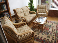 Very nice Conservatory 2-seater, 2 arm chairs, coffee + side table, recently upholstered