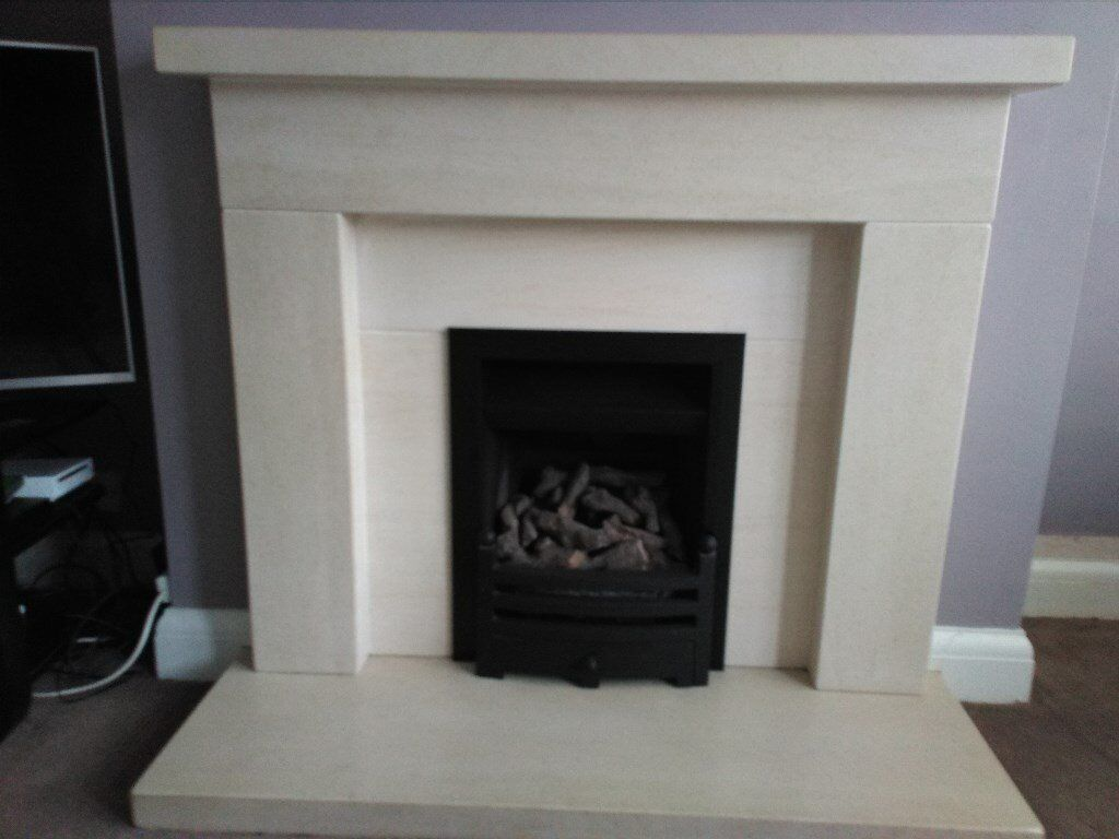 portuguese limestone fire surround hearth and excelsior log
