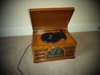 CD/ radio / and compact record player and wooden storage unit for records