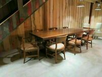 Burr Walnut Banquet Table & 8 Chairs