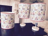 Ceiling lamp shade and 2 side lights with shades