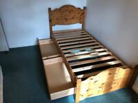Pine single bed with storage drawers