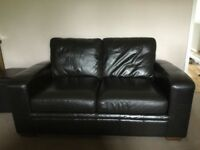 PAIR OF BROWN LEATHER NEXT SOFAS