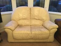 Two Seater Cream Leather Sofa - offers considered...