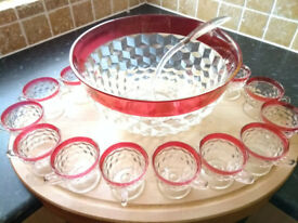 Vintage Heavy Large Solid Glass Punch Bowl & 12 glasses & Plastic Ladle