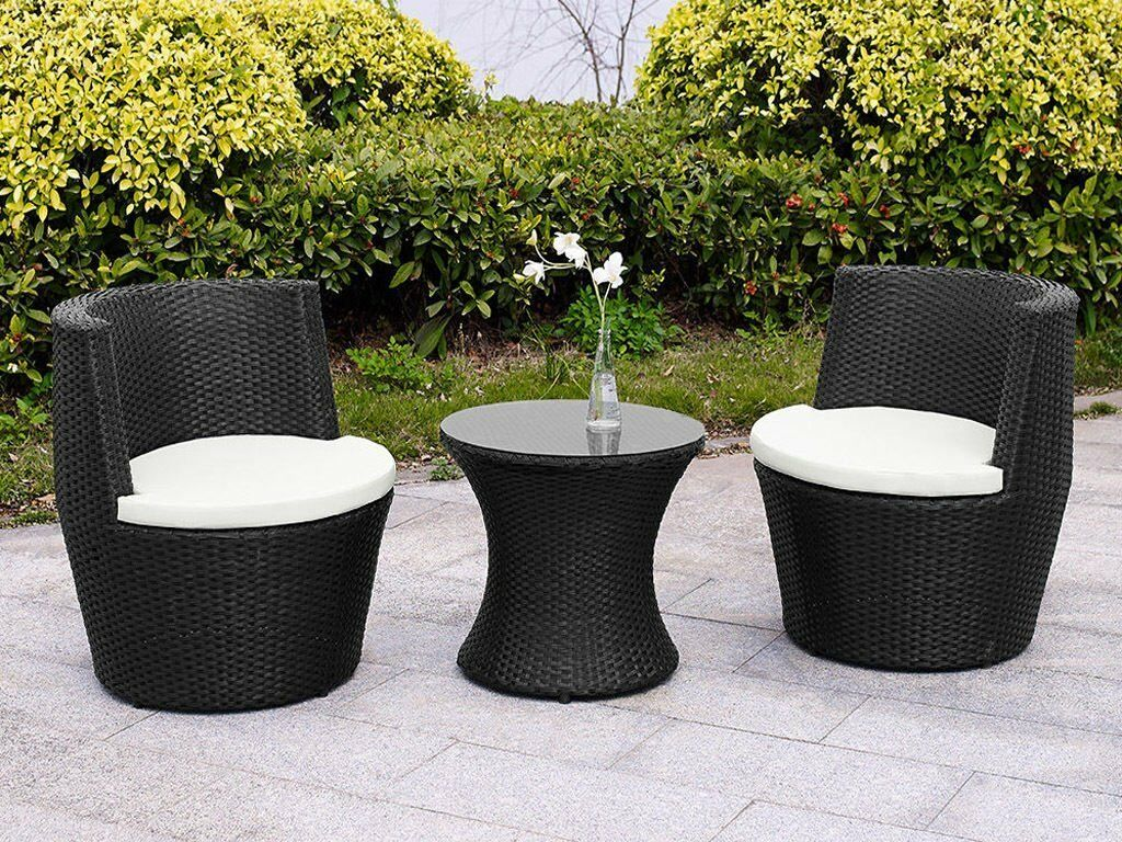 Garden Furniture - RATTAN GARDEN FURNITURE VASE SET WICKER 3PC PATIO CHAIRS COFFEE TABLE OUTDOOR