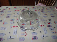 Glass cake plate with dome lid.