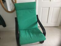Ikea Poang chair, black base, VGC, with brand new Green seat pad