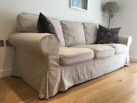 IKEA EKTORP Three-seat sofa in a beige colour (Lofallet beige)