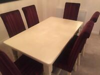 Handmade Solid Wood Dining Table and Six High Back Chairs