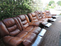 Leather 3 Piece Recliner Sofas (3+2 Seater & 1x Rocking Armchair)