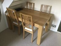 Solid pine wood dining table and 4mathching chairs