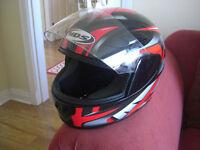 MDS Motorbike Helmet & Armoured Gloves.