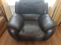 Large Comfy Dark Brown Leather Recliner Chair( Bargain)