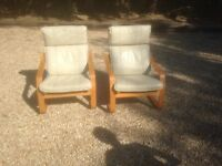 Bentwood cream leather chairs X 2