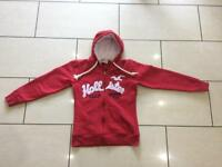 Kids Hollister Red Hooded Top Size L