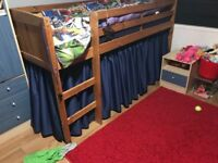 2 x Pine Cabin Beds with made to measure curtains around the base