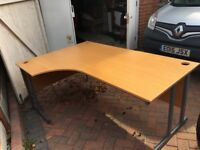 Office desks - Two large office desks in pine effect wood