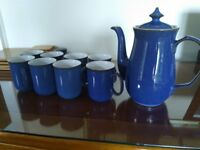 Imperial Blue Denby coffee mugs and coffee pot
