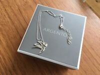 Silver swallow bird necklace, Argento sterling silver (with box, ideal gift)