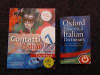 'Contatti Beginner's Italian Course Book' & 'Oxford Essential Italian Dictionary'