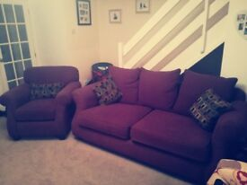 Three seater sofa & chair, great condition, firm seating.