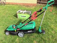 QUALCAST 1500W Electric Rotary Mower and 350W Grass Trimmer