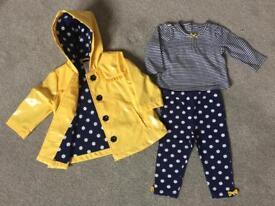 BABY GIRL RAIN COAT AND LEGGINGS SET 12 MONTHS