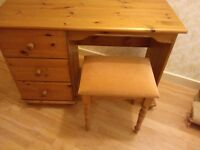 Solid Scandinavian pine dresser and matching stool REDUCED PRICE!!!