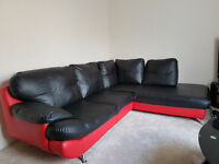 Corner Sofa Faux Leather Black & Red For SALE With A Free Coffee Table