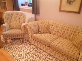 Matching Sofa and Armchair Fleur De Lys pattern