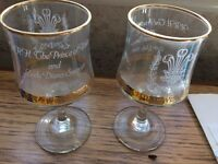 Wine glasses to commemorate Royal wedding of Charles and Diana