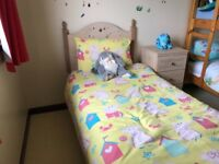 Single bed, mattress, wardrobe, chest of drawers and bedside table - all excellent condition
