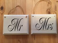 MR and MRS signs for a Wedding