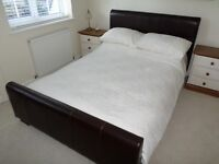 Double Bed, Brown Leather Faux