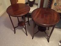 Two Edwardian antique circular side tables
