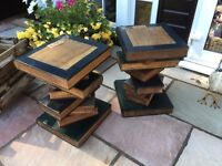 Pair of Vintage Stacked Book Side Occasional Tables